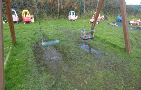 Muddy puddle under swing
