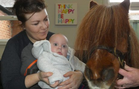 Baby with Smurf the Therapy Pony