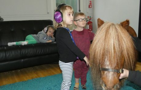 Children with Smurf the Therapy Pony