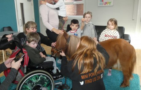 Group of children with Smurf the therapy pony